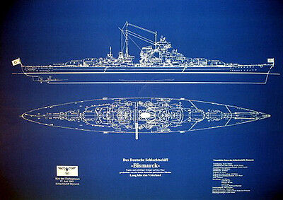 "WW2 German Battleship BISMARCK Print Blueprint Plan 24""x36""  (025)"