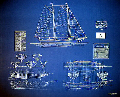 Sailing Ship Schooner BUCCANEER 1923 Blueprint Plans 24 x 31(129)