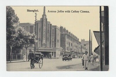 China Old Postcard Avenue Joffre With Cathay Cinema Shanghai !!