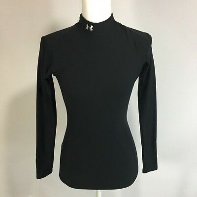 Under Armour Womens M Black Mock Neck Long Sleeve Compression Shirt Top Thermal