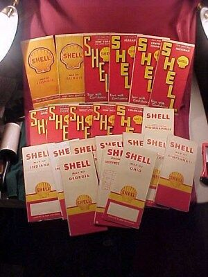 Lot of 22 Old Shell Gas Oil  Road Maps 1930's, 1940's, 1950's,  1960's