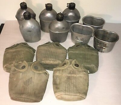 Lot of Five(5) Original WWII US Army Canteen, Cups and Covers