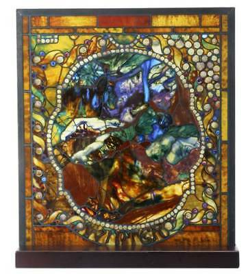 """Tiffany Style The Four Seasons """"WINTER"""" Stained Art Glass Window Panel Display"""