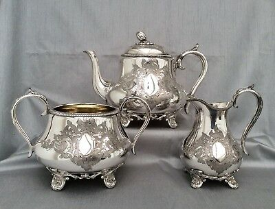 Fine Antique Victorian Sheffield Silver Plated Chased Tea Set J Dixon&Sons C1890