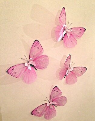 "Duck Egg 3D Nursery Baby Girls Bedroom Furniture 4/"" Butterfly Decals Stickers 4"