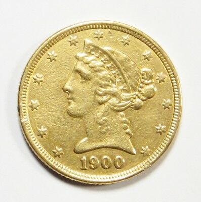 1900-P  LIBERTY HEAD $5 HALF EAGLE Gold Coin