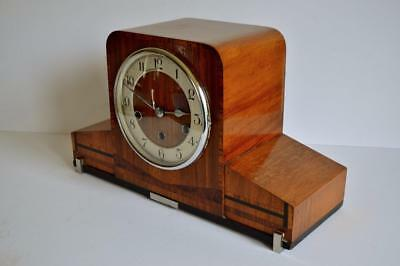 VERY STYLISH DESIGN 1930s ART DECO WESTMINSTER CHIME INLAID WALNUT MANTLE CLOCK