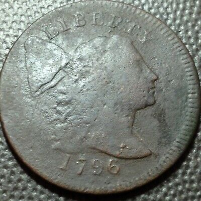 1796 Liberty Cap  Flowing Hair Large Cent   Plain Edge   Scarce Date