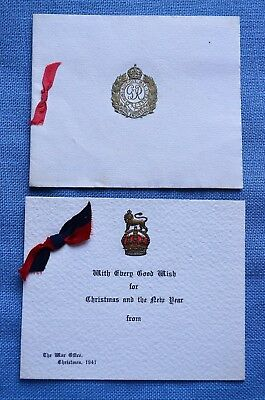 Two WWII British Christmas Cards, One From The Royal Engineers