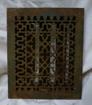 Antique Cast Iron Victorian Floor Grate Heat Register Louvers & Surround Salvage