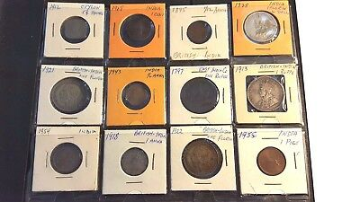 Rare! 12 Ceylon and India coins 1797-1955