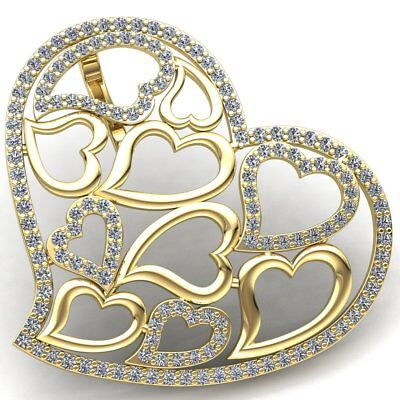 Natural 3ct Round Cut Diamond Ladies Fancy Forever Heart Pendant 10K Gold