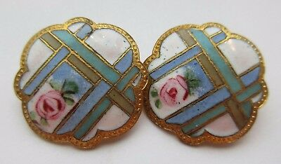 Pristine Lot of 2 Matching Antique French Champleve ENAMEL BUTTONS Pink Rose 1""
