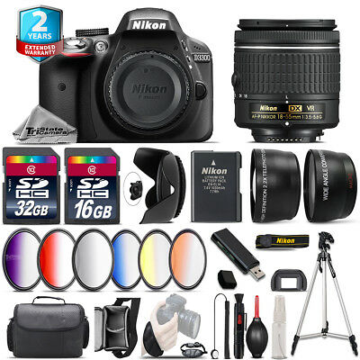 Nikon D3300 DSLR Camera + AF-P 18-55mm VR + 6PC Graduated Filter - 48GB Bundle