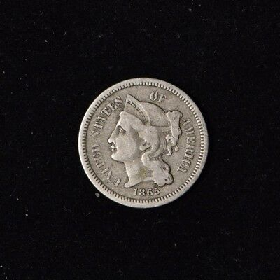 1865 3C Three Cent Nickel Circulated Us Type Coin