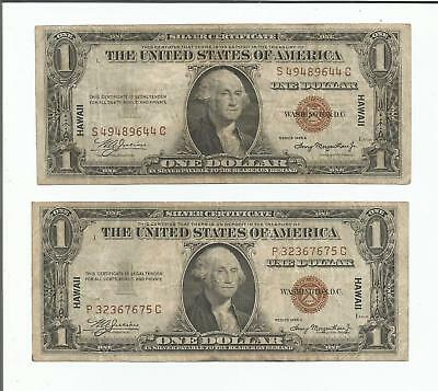 1935 $1 Wwii Hawaii Silver Certificate Lot