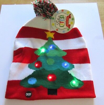 f8106826eb8d6 Lotsa Lites Flashing Holiday Knitted Hat -Christmas Tree- stripes - red  green