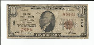1929 $10 Danville National Bank Currency