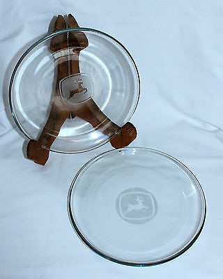 Set of 2 JOHN DEERE Tractor Clear Etched Glass Lunch Sandwich Dessert Plates