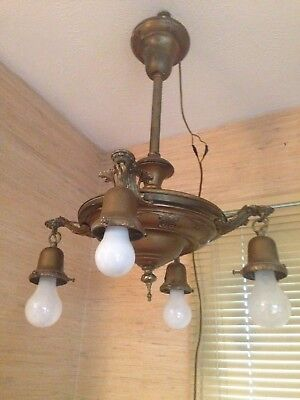 Antique Art Deco Stamped and Cast Brass 4 Arm Ceiling Light Fixture, Rewired