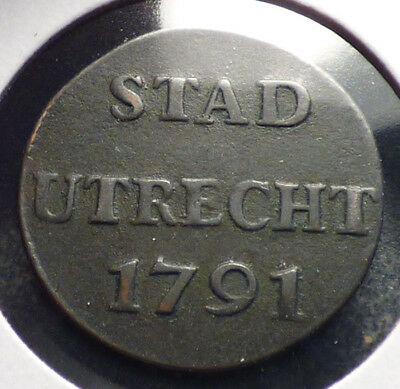Netherlands, Utrecht State, Circulated Copper Duit from 1791, KM 91