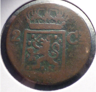 Netherlands East Indies, Island of Sumatra, 2 Cents (Double Duit) 1839 J, Worn