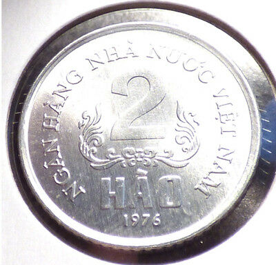 Vietnam 2 Hao 1976, AU Coin, Early Socialist Republic Issue, 1 Year Type, KM 12