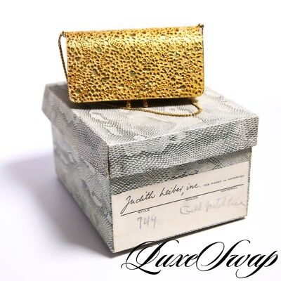 RARE Vintage Judith Leiber 1970s 1960s Gold Metal Mesh Lace Leather Evening Bag