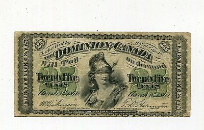 Dominion of Canada 1870 25 Cents Banknote