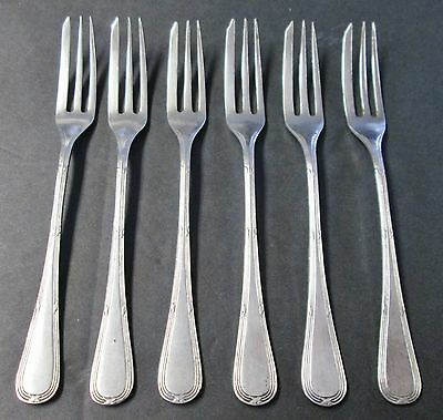 6 Hors d'oeuvres or Strawberry Forks Eurpoean Silverplate Elegant Design