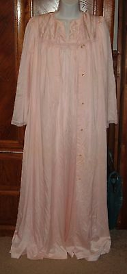 Vintage ~Shadow Line~ Light  Pink ~ Long Nylon Nightgown & Robe Set Size Small