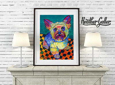 Yorkshire Terrire Yorkie Dog Folk Art Print Poster Painting 11x14 GALLER SIgned