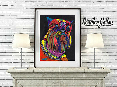 Brussels Griffon Dog Breed Folk Art Print Poster Painting 11x14 GALLER SIgned