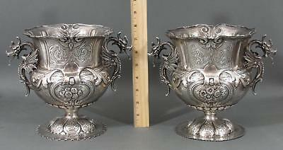 Large Pair Antique 800 Continental Silver Gothic Urns w/ Dragon Handles 54.72Toz
