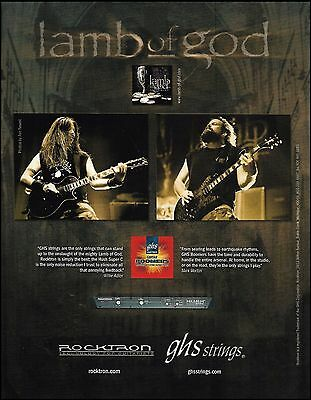 Lamb of God Willie Adler Mark Morton GHS guitar stings ad 8 x 11 advertisement