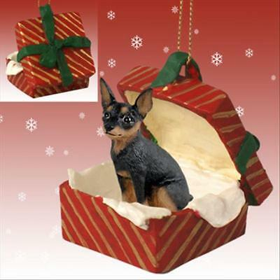 Miniature Pinscher Black Tan Dog RED Gift Box Holiday Christmas ORNAMENT