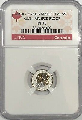 2014 $1 1/20 Canada Silver Maple Leaf Ngc Pf70 Reverse Proof 25Th Anniversary