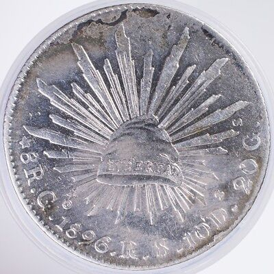 1896 Mexico 8 Reales XF cleaned, .9030 Silver, .7859oz