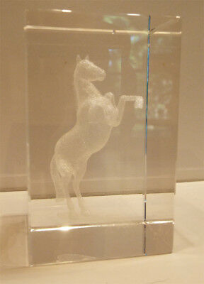 Glass Block with 3-D Image of Rearing Horse