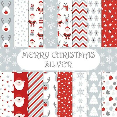 MERRY CHRISTMAS - SILVER CHRISTMAS SCRAPBOOK PAPER - 16 x A4 pages