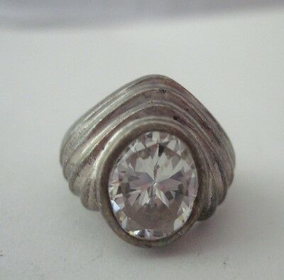 Vintage Retro Design Sterling Silver Clear Cz Stone Ring Size 6.5