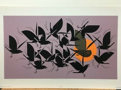 Charley Harper Owltercation Signed Serigraph Limited Edition Art Print