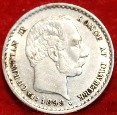 1899 Denmark 10 Ore Silver Foreign Coin Free S/H