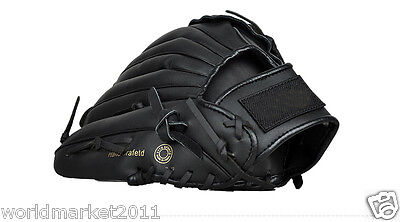 Sporting Goods PU Material 12.5 Inches Wear-Resisting Baseball Glove Black&$