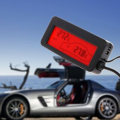 Digital Car LCD Display Indoor Outdoor Thermometer 12V Vehicle 1.5m Cable Sensor