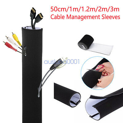 """49/"""" Cable Management Organizer Neoprene Cable Cord Wire Cover Hider Sleeves"""