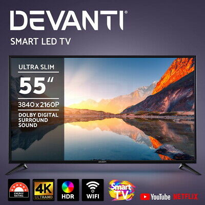 "NEW DEVANTi 55"" Inch Smart TV 4K UHD HDR LED LCD Slim Thin LG Screen Netflix"