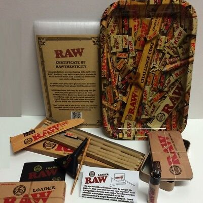 """RAWTHENTIC"" BUNDLE KIT - ROLLING TRAY+20 LEAN CONES+LOADER+Storage TIN+LIGHTER"
