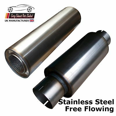 "High Grade Stainless Silencer Exhaust Box 4"" 5"" 6"" Body 1.75 2 2.25 2.5 3"" Inlet"