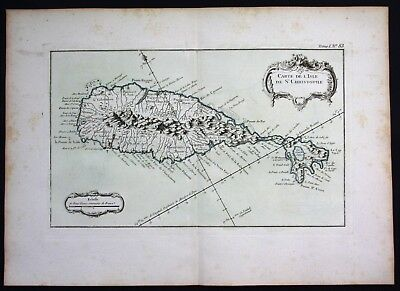 1764 - Saint Kitts island Lesser Antilles Bellin handcolored antique map